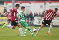 ©/Presseye.com - 19th May 2017.  Press Eye Ltd - Northern Ireland - Airtricity League Premier Division - Derry City V Shamrock Rovers. Shamrock Rovers\'s Trevor Clarke and Derry\'s Aaron McEneff and Lukas Schubert.. Mandatory Credit Photo Lorcan Doherty / Presseye.com