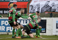 29/02/20. Sadlers Peaky Blinders Irish Cup Quarter final between Glentoran  and Crusaders at the Oval Belfast. Glentorans Marcus Kane celebrates after scoring . Mandatory Credit - Inpho/Stephen Hamilton.