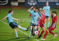 Press Eye - Belfast - Northern Ireland - 5th October 2019. European Women\'s U19 Championship 2020 Qualifying Round - Ballymena Showgrounds.  Northern Ireland Vs Moldova.. Northern Ireland\'s Caitlin McGuinness with Moldova\'s Nicolina Ilasco. Picture by Jonathan Porter/PressEye