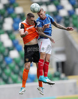 Press Eye - Belfast -  Northern Ireland - 12th August 2017 - Photo by William Cherry/Presseye. Linfield\'s Kirk Millar with Carrick\'s Dale Malone during Saturdays Danske Bank Premiership game at the National Stadium at Windsor Park, Belfast.