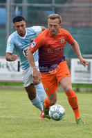 © Presseye.com- August 12th 2017, Danske Bank Premiership.. Warrenpoint Town v Glenavon %:30 Kick off.. Warrenpoint\'s TJ Murray. and Glenavon\'s Sammy Clingan. during Saturday\'s match at Milltown. Photo by TONY HENDRON/Presseye.com. .