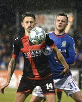 12th September 2017 . Danske Bank Irish premier league match between Crusaders and Linfield at Seaview.. Crusaders  Jordan Forsythe in action with Linfields Niall Quinn.  Photo by Stephen Hamilton /Inpho