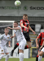 10th August 2019. Danske Bank Premiership.  Crusaders v Carrick Rangers at Seaview Belfast.. Crusaders Rory Hale  in action with Carricks Wllie Faulkner. Mandatory Credit : Stephen Hamilton/Inpho