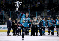 Press Eye - Belfast -  Northern Ireland - 06th April 2019 - Photo by William Cherry/Presseye. Belfast Giants\' Darcy Murphy pictured with the Elite Ice Hockey League trophy after being crowned Champions at the SSE Arena, Belfast.       Photo by William Cherry/Presseye