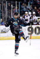 Press Eye - Belfast, Northern Ireland - 04th October 2019 - Photo by William Cherry/Presseye. Belfast Giants\' Ben Lake celebrates scoring against Guildford Flames during Friday nights EIHL game at the SSE Arena, Belfast.   Photo by William Cherry/Presseye