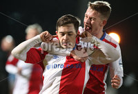 Danske Bank Premiership, Showgrounds, Ballymena. 14/2/2020. Ballymena United  vs Linfield FC. Linfield Jordan Stewart celebrates scoring against Ballymena United with team mate Kyle McClean.. Mandatory Credit  INPHO/Brian Little