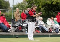 Northern Ireland- 18th June 2012 Mandatory Credit - Photo-Jonathan Porter/Presseye.  Bowls - Ladies British Isles Fours Final at Ward Park in Bangor Co. Down.  England vs Wales(red).  Wales\' Anwen Bitten bowls.