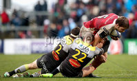 European Rugby Champions Cup Round 5, Kingspan Stadium, Belfast 13/1/2018. Ulster vs La Rochelle. Ulster\'s Iain Henderson with Benjamin Nobles and Pierre Aguillon of La Rochelle. Mandatory Credit ©INPHO/Ryan Byrne