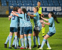 Press Eye - Belfast - Northern Ireland - 5th October 2019. European Women\'s U19 Championship 2020 Qualifying Round - Ballymena Showgrounds.  Northern Ireland Vs Moldova.. Northern Ireland celebrate after scoring to make it 1-0. . Picture by Jonathan Porter/PressEye
