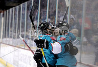 Press Eye - Belfast, Northern Ireland - 06th December 2019 - Photo by William Cherry/Presseye. Belfast Giants\' Brian Ward celebrates scoring against the Sheffield Steelers during Friday nights Elite Ice Hockey League game at the SSE Arena, Belfast.       Photo by William Cherry/Presseye