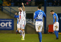 Sadlers Peaky Blinder Irish Cup Round 5 at Mourneview, Lurgan.  04.01.2020.  FC v Coleraine FC. Coleraines Eoin Bradley celebrates after scoring to make it 0-2. . Mandatory Credit INPHO/Jonathan Porter