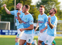 Europa League Preliminary Qualifying Round First Leg, Ballymena Showgrounds, Co. Antrim 27/6/2019. Ballymena United vs NSI Runavik. Ballymena\'s Leroy Millar(second from left) celebrates with his teammates after he scores to make it 1-0. . Mandatory Credit INPHO/Jonathan Porter