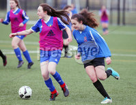 Press Eye - Belfast - Northern Ireland - 8th February 2018. IFA school girls football competition at Allen Park in Antrim.  . Final - St Genevieve\'s, Belfast Vs Holy Cross(pink bibs), Strabane.. . Picture by Jonathan Porter/PressEye