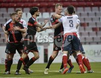 . Danske Bank Premiership, Seaview, Belfast 13/1/2018. Crusaders vs Ards. Tempers flare between Jordan Owens and David Elebert. Mandatory Credit ©INPHO/Stephen Hamilton