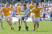 Ulster GAA Football Senior Championship Quarter-Final, Clones, Co. Monaghan 27/5/2012. Monaghan vs Antrim. Karl O\'Connell of Monaghan gets away from Paddy Cunningham, Tony Scullion, Richard Johnston and Mark Sweeney of Antrim. Mandatory Credit ©INPHO/Presseye/Andrew Paton