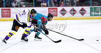 Press Eye - Belfast -  Northern Ireland - 11th February 2018 - Photo by William Cherry/Presseye. Belfast Giants Spiro Goulakos with Manchester Storm\'s Ryan Trenz during Sunday afternoons Elite Ice Hockey League game at the SSE Arena, Belfast.