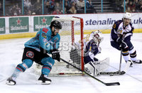 Press Eye - Belfast, Northern Ireland - 29th February 2020 - Photo by William Cherry/Presseye. Belfast Giants\' Matt Pelech with Guildford Flames\' Wouter Peeters during Saturday nights Elite Ice Hockey League game at the SSE Arena, Belfast.    Photo by William Cherry/Presseye