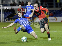 Danske Bank Premiership, The Showgrounds Newry 11/01/2019. Newry vs Crusaders. Newrys Dale Montgomery  with Crusaders Rory Hale. Mandatory Credit INPHO/Stephen Hamilton.