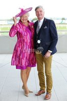 Press Eye - Belfast - Northern Ireland - 11th September 2015 - . Summer Race Evening at Down Royal Racecourse . Dame Mary Peters and David Anderson pictured at Down Royal .. Picture by Kelvin Boyes / Press Eye..
