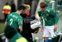 Press Eye - Belfast, Northern Ireland - 18th November 2020 - Photo by William Cherry/Presseye. Last minute instructions for Northern Ireland\'s Conor McLaughlin and Ethan Galbraith during Wednesday nights UEFA Nations League game at the National Football Stadium at Windsor Park, Belfast. Photo by William Cherry/Presseye