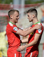 Press Eye Belfast - Northern Ireland 12th August 2017. Danske Bank Irish Premier league match between Cliftonville and Ards at Solitude Belfast.. Cliftonville\'s Jay Donnelly celebrates after he scores to make it 6-2.  Photo by Stephen  Hamilton / Press Eye