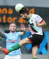 Danske Bank Premiership, Showgrounds, Ballymena  24/8/2019. Ballymena United  vs Glentoran FC . Ballymena United\'s Ryan Harpur  and Curtis Allen  of Glentoran .. Mandatory Credit  INPHO/Brian Little