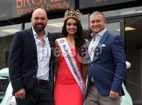 Press Eye © Belfast - Northern Ireland. Photo by Freddie Parkinson / Press Eye ©. Tuesday 16th May 2017. Anna Henry winner of the Insanity Tan Miss Northern Ireland.. Student Anna Henry  22-year-old from Portglenone, who was Miss Anchor, was named the winner at a ceremony on Monday night.. Anna will receive a year's modelling contract with ACA Models, an all-expenses paid trip to Miss World, one years beauty treatments and complimentary Insanity spray Tan\'s from Bronze Tanning & Beauty Salons, a bespoke crown designed by Nichola Ruby worth over £1,000, a make up hamper from Make Up Pro Store worth over £500, a personal training package with Think Fit tailored just for her, a Fiat 500 car from Donnelly Group, a new designer wardrobe provided by Blush Boutique and more.. Also photographer are Gerry McBride (Left) and Joe McGlinchey (Right) owners of Bronze Tanning & Beauty.