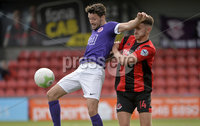 24th August 2019. Danske Bank Premiership. Seaview Belfast. Crusaders v Larne. Crusaders Jordan Forsythe  in action with Larnes  Tomas Cosgrove . Mandatory Credit : Stephen Hamilton/Inpho