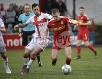Danske Bank Premiership, Solitude Belfast, Co Antrim 10/03/2018. Cliftonville  vs Crusaders . Cliftonville\'s Liam Bagnall in action with Crusaders Declan Caddell. Mandatory Credit ©INPHO/Stephen Hamilton.