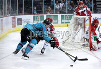 Press Eye - Belfast, Northern Ireland - 01st February 2020 - Photo by William Cherry/Presseye. Belfast Giants\' Matt Pelech with Cardiff Devils\' Mark Richardson during Sunday afternoons Elite Ice Hockey League game at the SSE Arena, Belfast.   Photo by William Cherry/Presseye