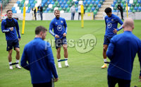 Press Eye - Belfast, Northern Ireland - 01st September 2020 - Photo by William Cherry/Presseye. Northern Ireland\'s Jordan Thompson, Niall McGinn and Jamal Lewis during Tuesday mornings training session at the National Stadium at Windsor Park, Belfast ahead of Friday nights Nations League game in Romania.    Photo by William Cherry/Presseye