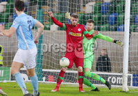 County Antrim Shield Final -  Windsor Park.  21.01.20. Cliftonville FC vs Ballymena United. Cliftonvilles Ruaidhri Donnelly with Ballymenas goalkeeper Jordan Williamson. Mandatory Credit INPHO/Jonathan Porter