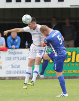Press Eye - Danske Bank Premiership  - 12th August 2017. Dungannon Swifts v Coleraine. Photograph By Declan Roughan. Dungannons Swifts David Armstrong. Coleraine's 1Eoin Bradley