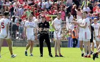 Ulster GAA Senior Football Championship Final, St Tiernach\'s Park, Clones, Co. Monaghan 16/7/2017. Down vs Tyrone. Tyrone manager Mickey Harte calls his players in to talk on the pitch before heading in to the dressing rooms at half time . Mandatory Credit ©INPHO/Morgan Treacy