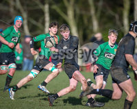 Press Eye - Belfast - Northern Ireland - 9th February 2019.. NO IMAGE FEE. Danske Bank Schools Cup rugby, Sullivan Upper v Campbell College.. Sullivan in action with Campbells Ollie Ralston. Photo by Matt Mackey / Press Eye.