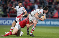 RaboDirect PRO 12, Thomond Park, Limerick 5/5/2012. Munster vs Ulster. Munster\'s Ivan Dineen tackles Ian Whitten of Ulster. Mandatory Credit ©INPHO/Cathal Noonan