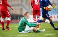Press Eye - Belfast, Northern Ireland - 0th September 2020 - Photo by William Cherry/Presseye. Northern Ireland\'s Shayne Lavery with Denmark\'s Oliver Christensen during Tuesday nights U21 Euro Qualifier at the Ballymena Showgrounds, Ballymena.      Photo by William Cherry/Presseye
