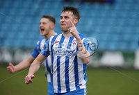 Danske Bank Premiership, Showgrounds, Ballymena . 7/3/2020. Ballymena United FC v Coleraine FC.  Coleraine Stephen Lowry  celebrates after scoring a penalty against Ballymena United.. Mandatory Credit  INPHO/Brian Little