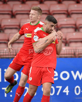 Press Eye Belfast - Northern Ireland 12th August 2017. Danske Bank Irish Premier league match between Cliftonville and Ards at Solitude Belfast.. Cliftonville\'s Joe Gormley celebrates after he slots home to make the score 2-1.  Photo by Stephen  Hamilton / Press Eye