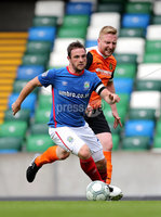 Press Eye - Belfast -  Northern Ireland - 12th August 2017 - Photo by William Cherry/Presseye. Linfield\'s Jamie Mulgrew with Carrick\'s Chris Morrow during Saturdays Danske Bank Premiership game at the National Stadium at Windsor Park, Belfast.