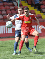 Press Eye Belfast - Northern Ireland 12th August 2017. Danske Bank Irish Premier league match between Cliftonville and Ards at Solitude Belfast.. Cliftonville\'s Joe Gormley  in action with Ards Kyle Cherry.  Photo by Stephen  Hamilton / Press Eye