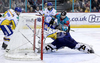 Press Eye - Belfast -  Northern Ireland - 09th February 2018 - Photo by William Cherry/Presseye. Belfast Giants Steve Saviano scoring against Fife Flyers during Friday nights Elite Ice Hockey League game at the SSE Arena, Belfast.