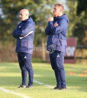 PressEye-Northern Ireland- 19th August  2019-Picture by Brian Little/PressEye. Northern Ireland U16  Coach Gerard Lyttle  and Jim Magilton (Elite Performance Director) against  Estonia U16   during Monday evening\'s challenge match at Breda Park (Knockbreda FC).. Picture by Brian Little/PressEye .