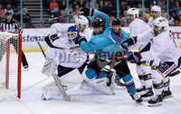 Press Eye - Belfast -  Northern Ireland - 24th August 2019 - Photo by William Cherry/Presseye . Belfast Giants\' Ben Lake with Herning Blue Fox\'s Albert Adamsen during Saturday nights Exhibition Game at the SSE Arena, Belfast.    Photo by William Cherry/Presseye