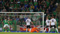 Press Eye - Belfast - Northern Ireland - 9th September 2019 . UEFA EURO Qualifier Group C at the National Stadium at Windsor Park, Belfast.  Northern Ireland Vs Germany. . Northern Ireland\'s goalkeeper Bailey Peacock-Farrell makes a save. . Photo by Jonathan Porter / Press Eye.