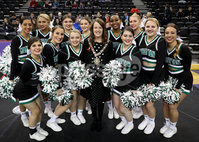 Press Eye - Belfast -  Northern Ireland - 01st December 2017 - Photo by William Cherry/Presseye. Lord Mayor of Belfast Nuala McAllister with the Manhattan College cheerleaders before Friday afternoons Basketball Hall of Fame Belfast Classic game at the SSE Arena, Belfast.  Photo by William Cherry/Presseye