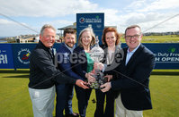 Press Eye - Belfast - Northern Ireland - 17th May 2017 - . Pictured at the Dubai Duty Free Irish Open Media Day at Portstewart Golf Club are from left to right: Michael Moss, Portstewart Golf Club, Simon Alliss, European Tour, Aine Kearney, Tourism Northern Ireland, Sinead El Sibai, Dubai Duty Free and Barry Funston, The Rory Foundation.. Photo by Kelvin Boyes / Press Eye.
