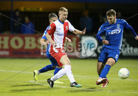 Bet McLean League Cup 3rd Round, Stangmore Park, Dungannon   8/10/2019. Dungannon Swifts FC  vs Linfield FC. Dungannon Swifts  Dylan King and Andrew Mitchell  of Linfield .. Mandatory Credit  INPHO/Brian Little