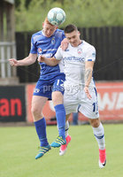 Press Eye - Danske Bank Premiership  - 12th August 2017. Dungannon Swifts v Coleraine. Photograph By Declan Roughan. Dungannons Swifts  Jarlath O\'Rourke. Coleraine's Josh Carson