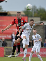 10th August 2019. Danske Bank Premiership.  Crusaders v Carrick Rangers at Seaview Belfast.. Crusaders Colin Coates  in action with Carricks Willie Faulkner. Mandatory Credit : Stephen Hamilton/Inpho